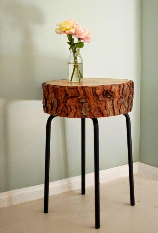 Vida-EcoVerde : Mesa de tronco y taburete viejo