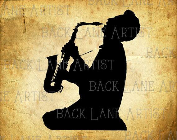 Vintage Saxophone Player Silhouette Clipart by BackLaneArtist