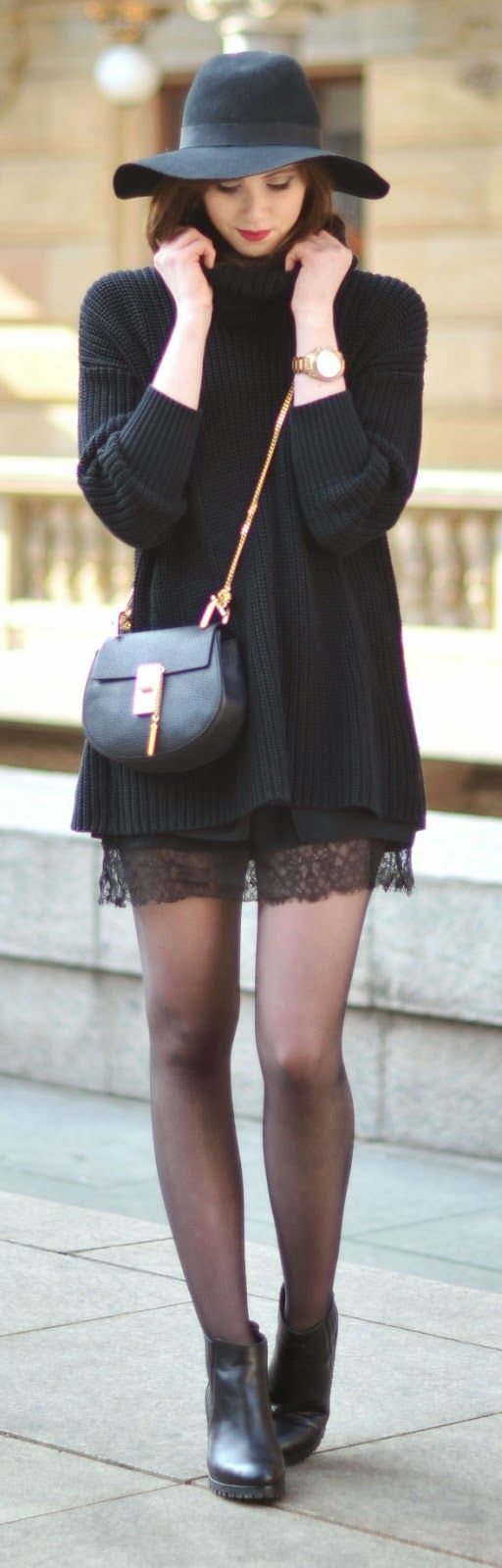 Black turtle neck top, Kurt Geiger boots, Black lace skirts - Vogue Haus