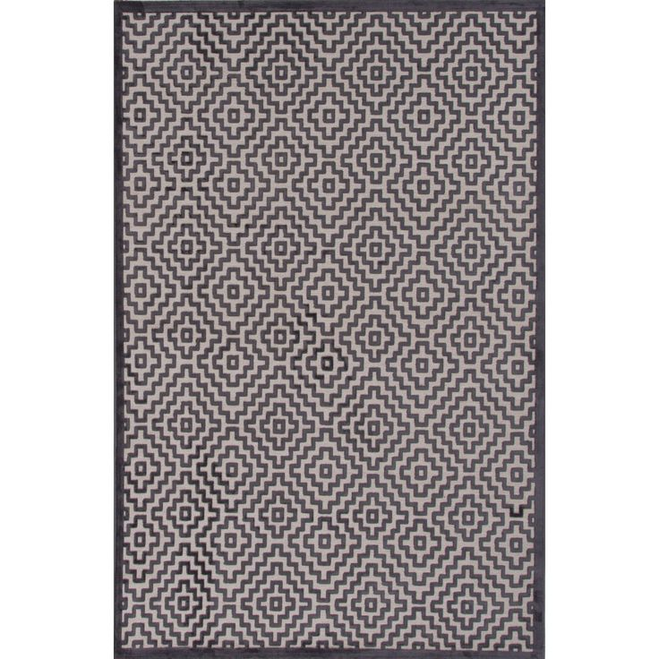 Jaipur Novelty Geometric Pattern Light grey/Plum kitten Chenille 9' x 12' Area Rug (9' x 12'), Size 9' x 12'