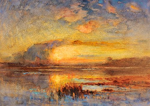 Auguste Ravier: Coucher de soleil sur l'étang de le Levaz - linkki Maison Ravier museoon