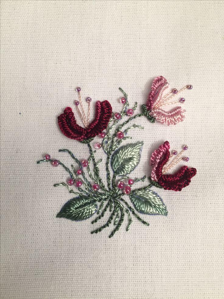 Brazilian embroidery flower sampler with seed beads. Bullion stitch, crouching stitch, stem stitch, cast-on stitch
