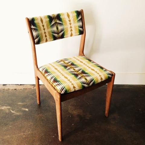 A Danish style chair I recovered using Pendleton fabric. #danish #pendleton #diamondsandrustshop