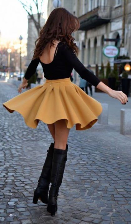 #fall #outfits / skirt + boots
