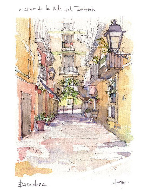 Carrer De La Volta Del Tamborets El Born Zeichnung Barcelona