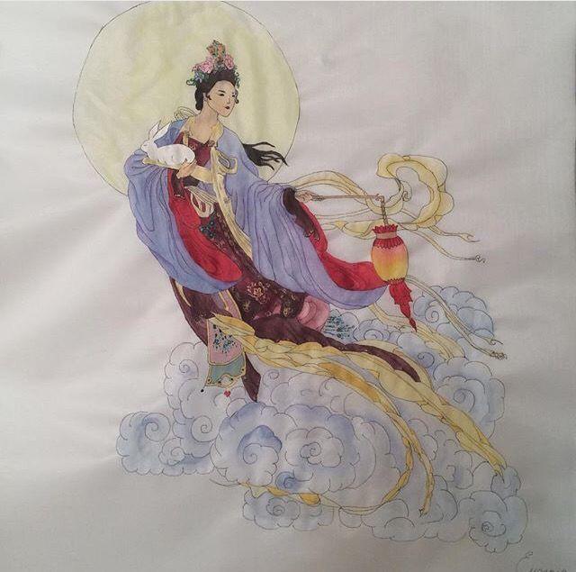 Chinese moon goddess illustration. Watercolors on silk