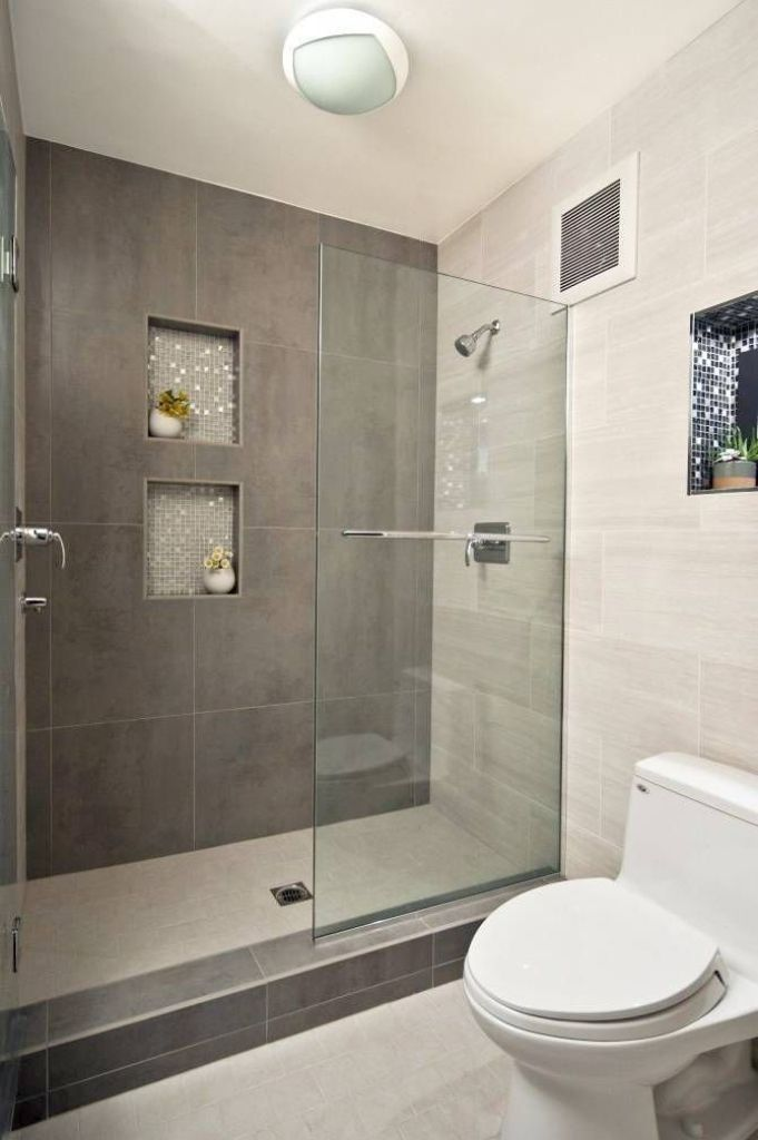 Grey Accent Wall With Glass Shower Enclosure For Modern Bathroom