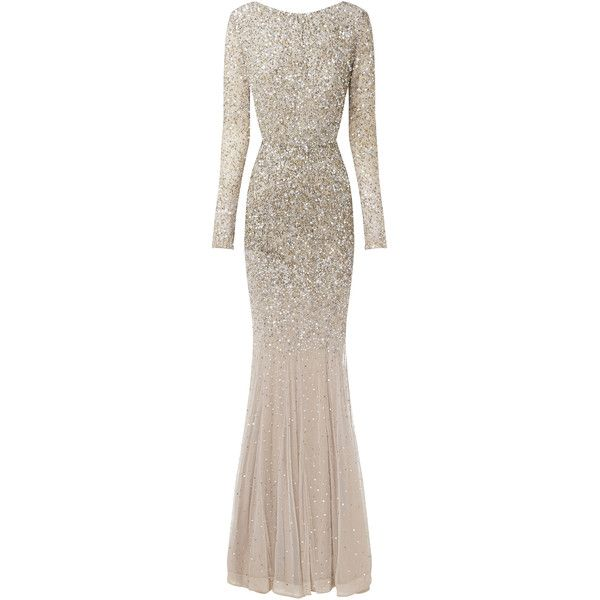 Rachel Gilbert Viera Gown (39.860 ARS) ❤ liked on Polyvore featuring dresses, gowns, rachel gilbert, brown, embellished dress, brown dress, rachel gilbert gowns, brown evening gowns and brown long sleeve dress
