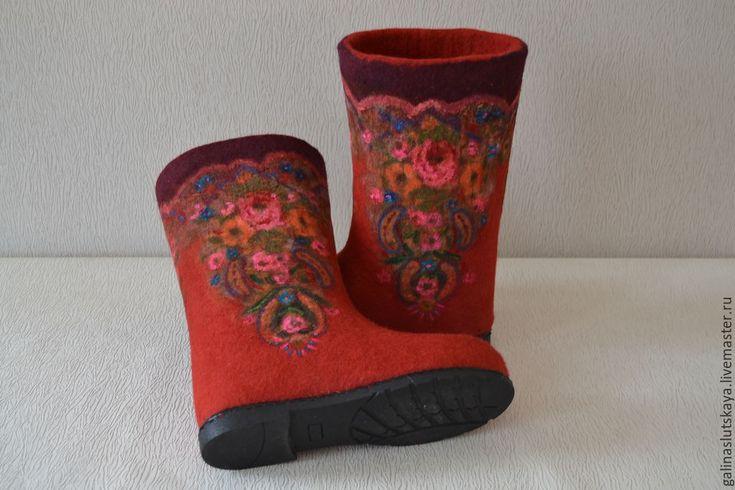 """Купить Валенки"""" Русский стиль""""-красные - ярко-красный, валенки, валенки на подошве, валенки для улицы"""