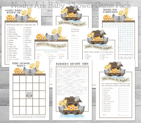 Noahs Ark Baby Shower 8 Game Pack By WeeBabyShower