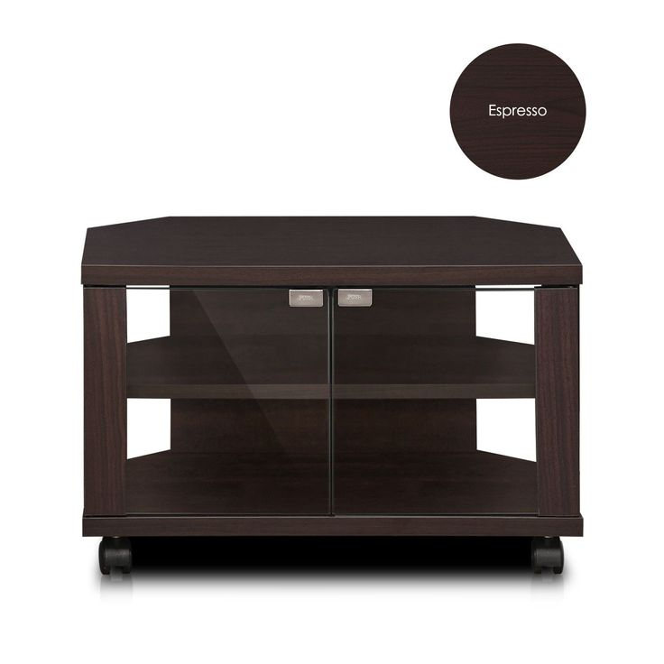 Furinno Indo 3-Tier Petite TV Stand with Double Glass Doors and Casters, Espresso (FL-600EX)