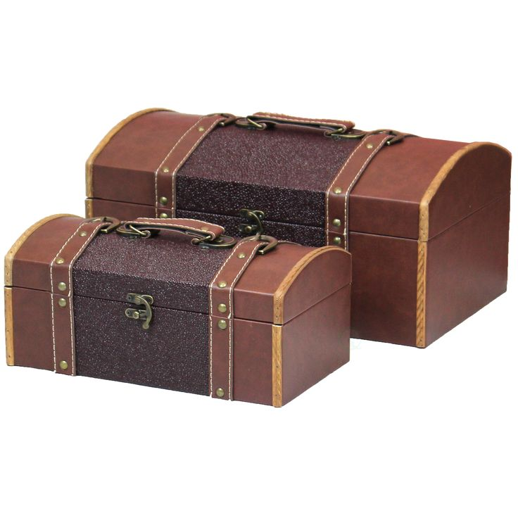 Vintiquewise Set of Two Leather Designer Decorative Storage Trunks