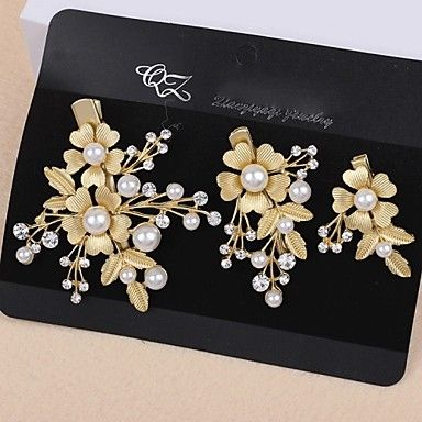 Lady's+Baroque+Style+Gold+Leaf+Olive+Crystal+Pearl+Barrette+Clip+Hair+Jewelry+for+Wedding+Party+(Set+of+3)+–+USD+$+6.29