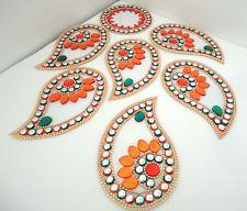 7P INDIAN WEDDING HANDMADE PAISLEY ORANGE GREEN KUNDAN RANGOLI FLOOR/WALL/TABLE