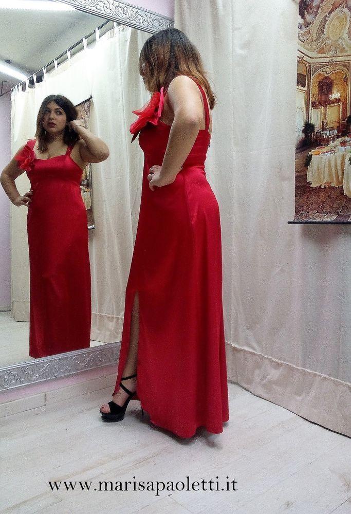 info for 5bc84 c57f3 abito godet raso rosso Marisa Paoletti lungo curvy eventi ...