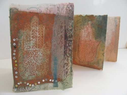 Mendhi book by Cas Holmes - Folding Book. Textiles and print. 2008. Commission for Bilston Craft Gallery, Transitions. Paper, textiles, text and mixed media 20cm x 90cm x 2cm