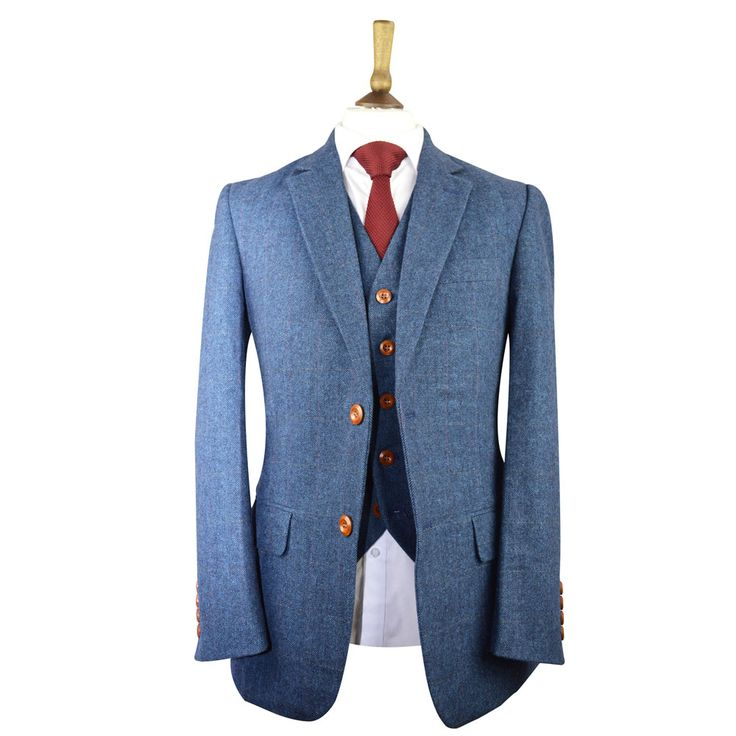 Made From Tweed Wool Our Handmade Blue Clic Herringbone Plaid Suit Is Just Perfect For Your Wedding