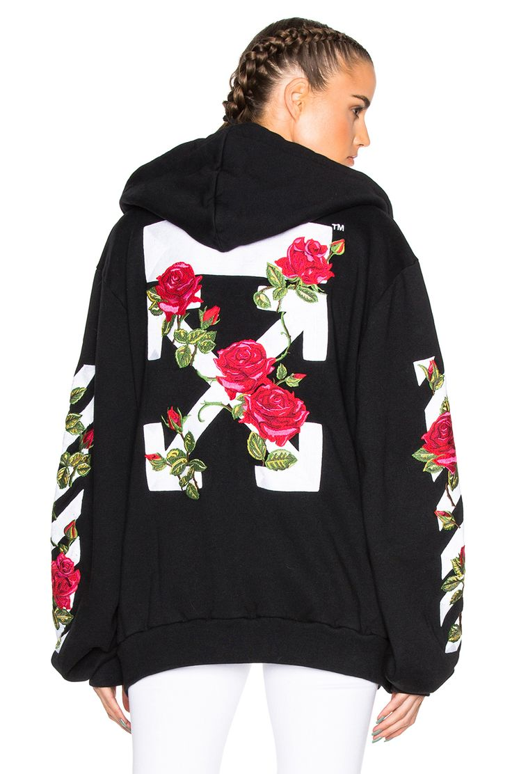 Image 1 of OFF-WHITE Roses Hoodie in Black Multi