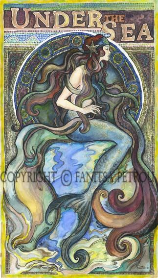 A mermaid done in the style of the Art Nouveau posters. Couache & ink. Hand painted. Copyright © Fanitsa Petrou.