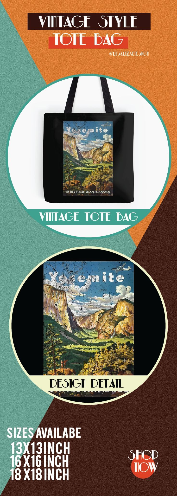 Vintage Travel Poster, Aged and Weathered - Yosemite National Park.  ToteBags  A collection design inspired by vintage travel and advertisements posters  from the late 19th century printed on durable tote bags. 3 Sizes available .  Excellent gift ideas for vintage lovers and everyone. #vintage #hugs #holidaygift #oldies #homedecor #retro #travelposter #totebag #redbubble #teepublic #lisalizadesign #vintageposter #oldies