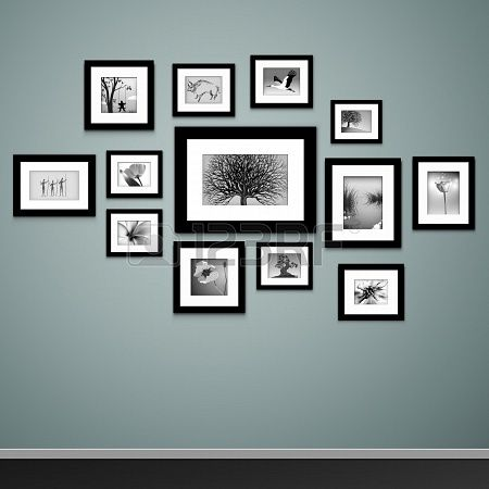 Photo frames on wall Vector vintage picture frames Stock Photo - 19634616