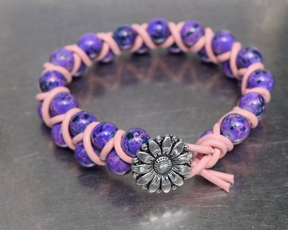 Two rows of spotted purple beads wrapped in pale pink leather cord - bracelet 19.5 cm (7.67 in)