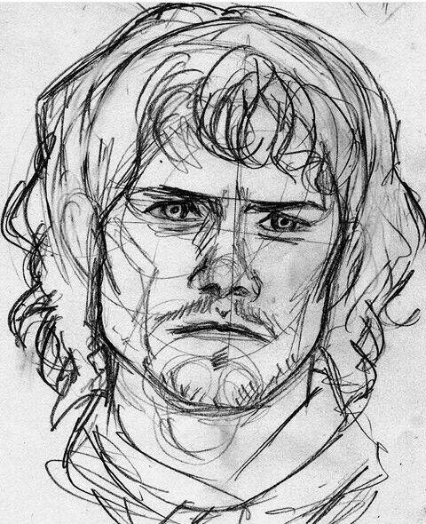 boceto sketch de Jamie Alexander Malcom Mackenzie Fraser el actor Sam heughan,  serie Outlander