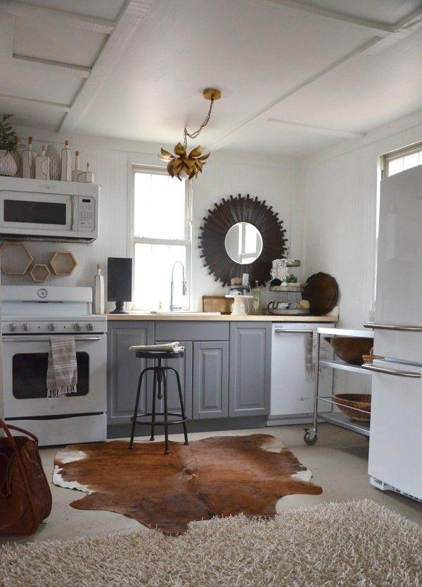 tiny kitchen w/ GE Artistry appliances, IKEA Lidingo gray ...