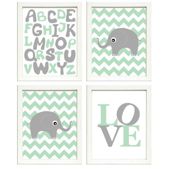 INSTANT DOWNLOAD Mint Green Grey Elephant Nursery by PrintsWallArt, $16.00