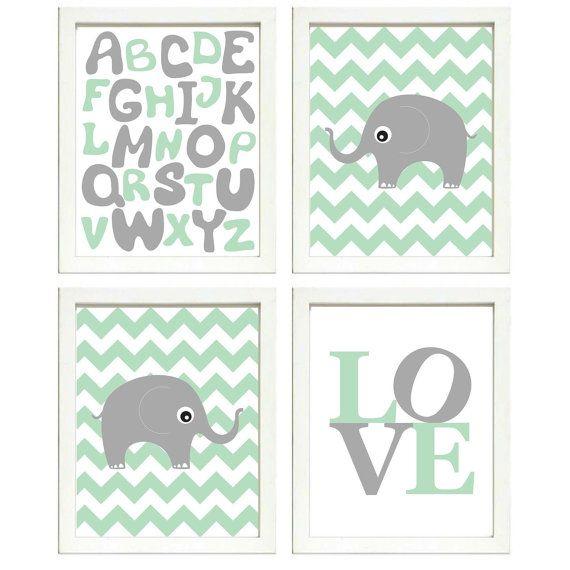 INSTANT DOWNLOAD Mint Green Grey Elephant Nursery by PrintsWallArt, $16.00