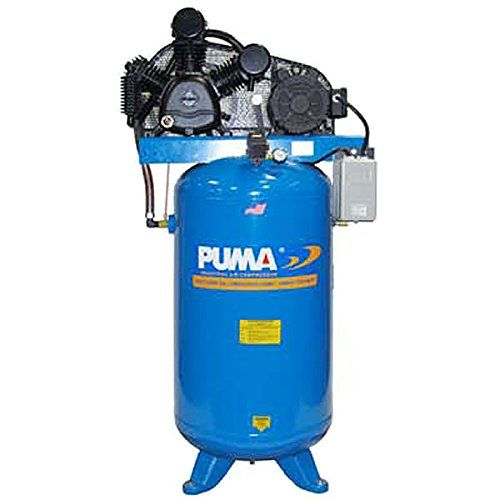 This Puma Industries, Air Compressor, model TUK-5080VM, Professional/Commercial/Industrial is a Two Stage Belt Drive Series, and specifications are: 5 HP Running, 175 Max PSI, 230/1 Voltage/Phase, 80 Gallons, 560 lbs. Oil lubricated, two stage cast iron pump.