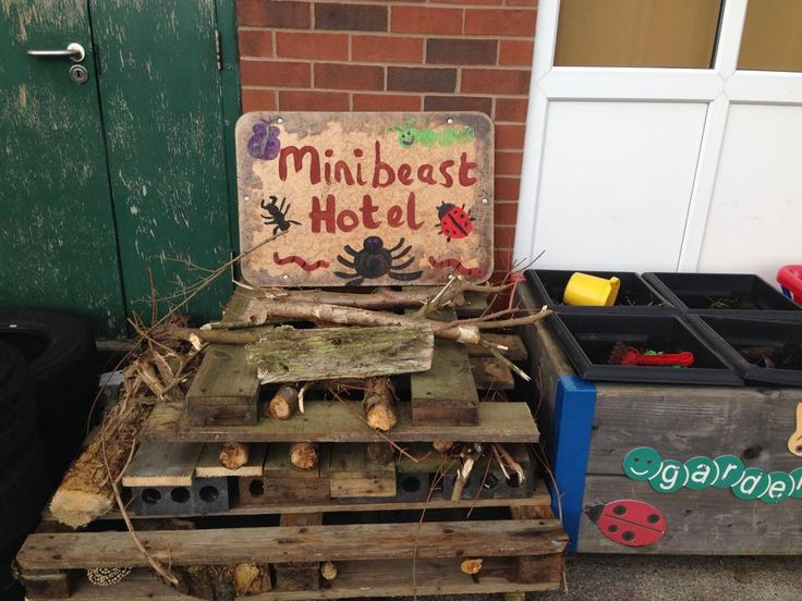 Our minibeast hotel/bug garden in our outside area in EYFS. The children helped to make it as part of their insect topic.