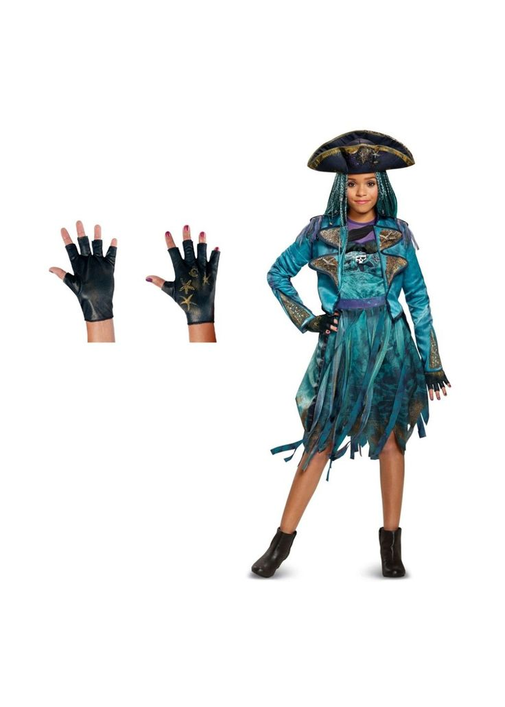 Descendants 2 Uma Girls Costume And Gloves Set  Your -8214