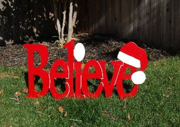 funny santa christmas yard decorations from wood | Believe in Santa Red Outdoor Christmas Holiday Wood Lawn ...
