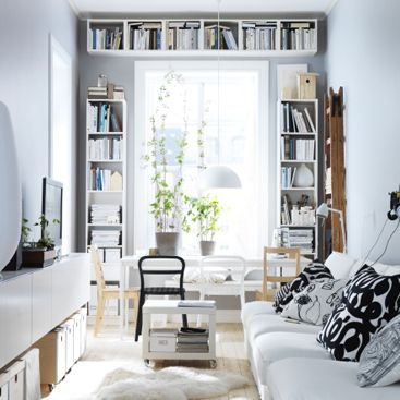 Like the look of mounting the third bookshelf above the window...