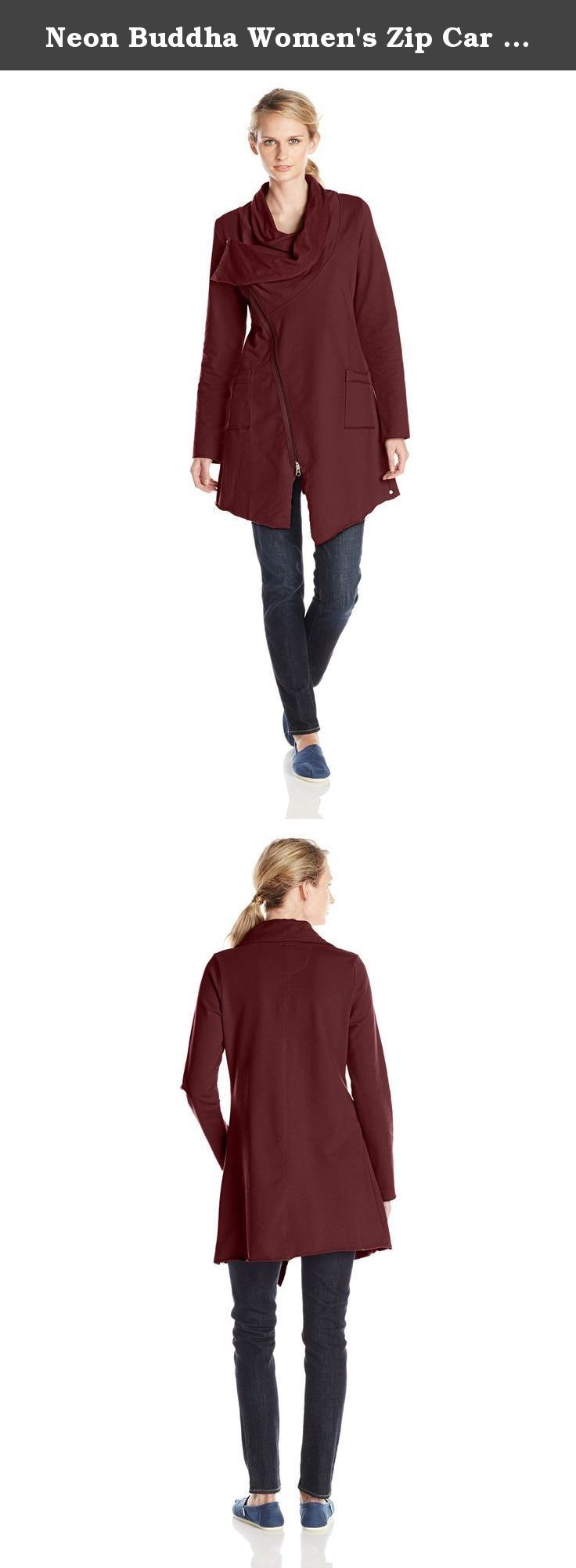 Neon Buddha Women's Zip Car Jacket, Wine, Medium. Zip car jacket which is very comfortable and trendy to wear.