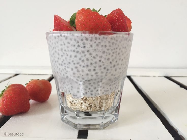 Strawberry cheesecake pudding ontbijt