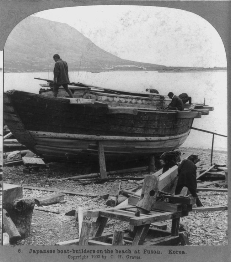 Japanese boat-builders on the beach at Fusan, Korea in 1903.