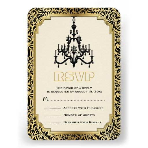 Art Deco chandelier black, gold wedding RSVP reply card. #ArtDeco, #chandelier, #RSVP, #replycard, #responsecard, #gold, #black, #weddings