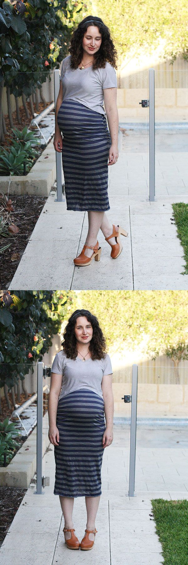 how to match stripes on the Ruched maternity skirt