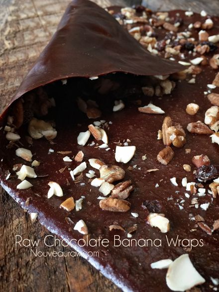 Chocolate Banana Wraps - Nouveau RawNouveau Raw - this woman's raw food blog is CRAZY!! - Needs a dehydrator with the silicone sheet.