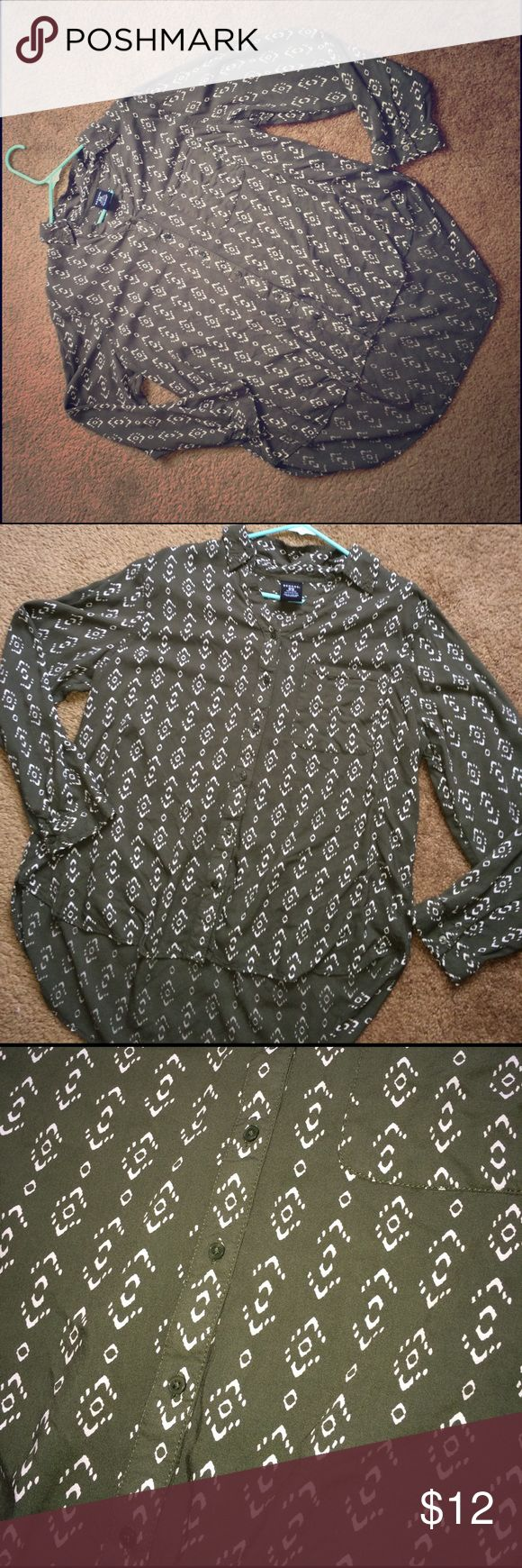 Green Aztec blouse Size XL but fits more like a large. Worn once. Super soft. Olive green in color. George Tops Blouses