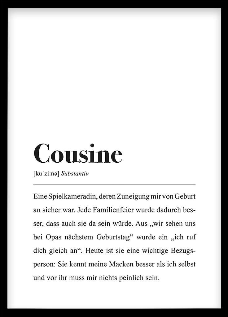 Cousine Definition - DIN A4 Poster | Zitat familie