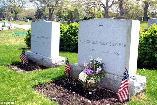 Eunice Kennedy Shriver and Sargent Shriver at the St Francis Xavier Cemetery in Centerville, Massachusetts