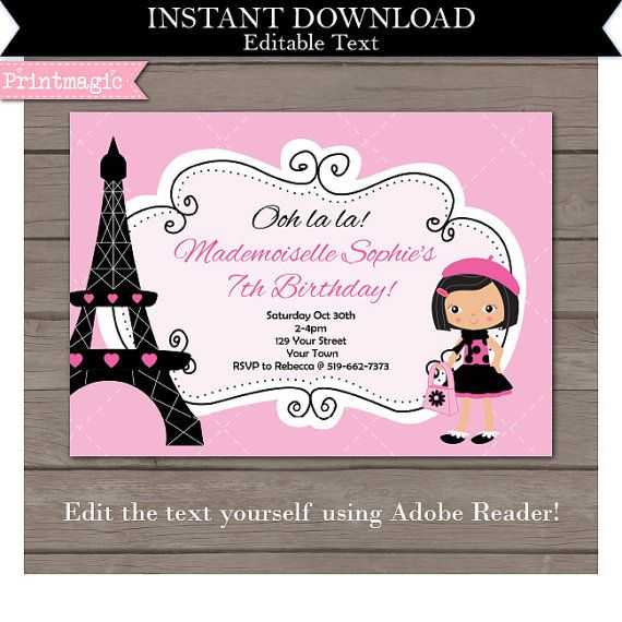 48 best paris birthday party ideas images on pinterest paris pink paris birthday party invitation editable text by printmagic solutioingenieria Choice Image