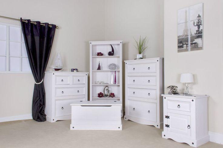 Premium Corona White Wash Bedroom Furniture Set Shabby Chic Drawers Trunk Brand New For 2015 Call