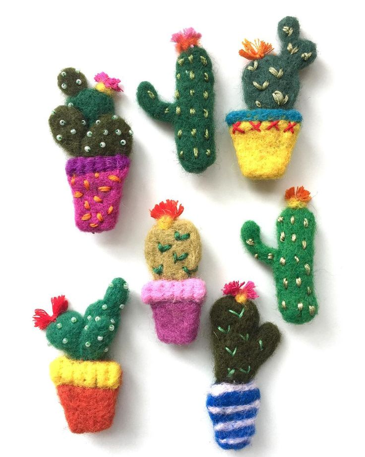 """Emma Herian // Sew Recycled 🌵Needle felted cacti Brooches, fun quirky & bright accessories ideal for summer! 🌵. #felting…"""""""