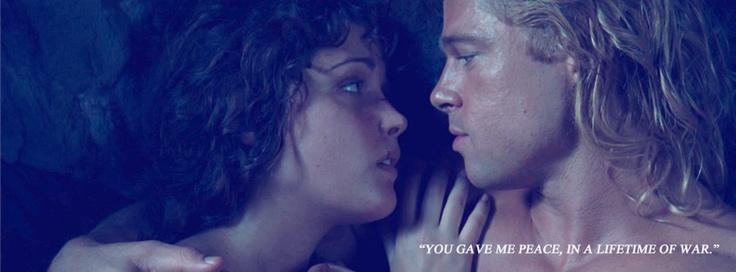 Brad Pitt (Achilles) and Rose Byrne (Briseis) in TROY