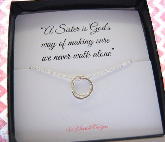 SISTERS Necklace, Eternity necklace, Sisters poem card, interlocking sterling necklace, Sterling Silver, Sentimental gift for SISTERS