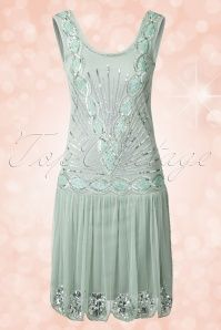 20s Zelda Flapper Dress in Mint